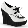 CREEPER-302 White and Black Vegan Leather